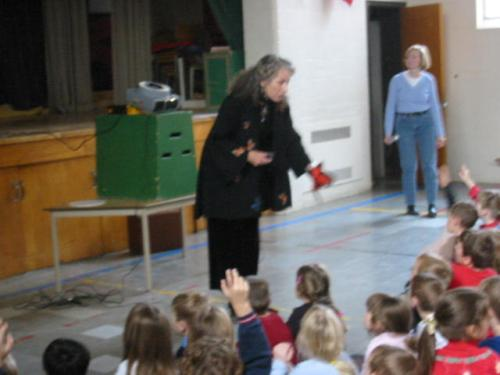 Maraleen speaking to children in Canada